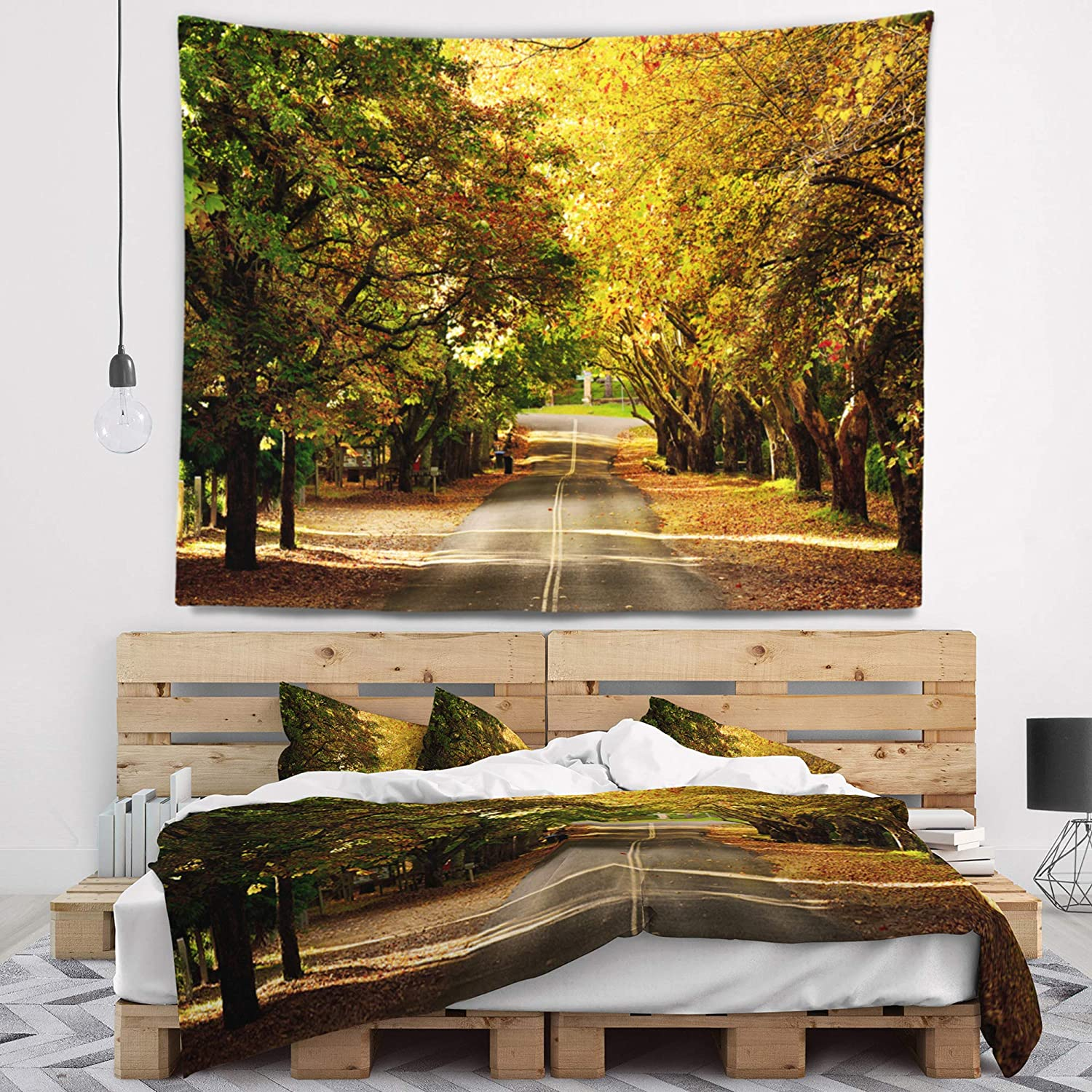 Designart TAP10231-80-68 Road Through Beautiful Green Trees Wall Tapestry X-Large//80 x 68