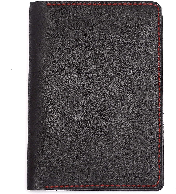 BrooklynMaker Handmade Genuine Leather Black Passport Cover Holder Travel Card Case