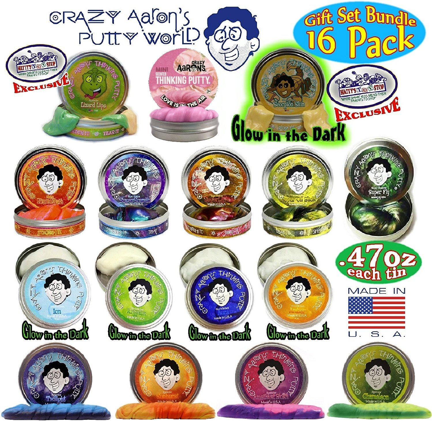 Crazy Aaron's Thinking Putty Mini Tins Complete Gift Set Bundle Featuring Hypercolor, Glow in the Dark, Super Illusion, Electric Color, Scented, Exclusive ''Lizard Lips'' & ''Scorpion Skin'' - 16 Pack