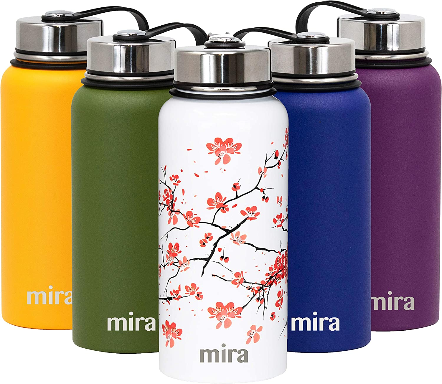 MIRA Insulated 32 oz Water Bottle | Stainless Steel Vacuum Insulated Wide Mouth Thermos Flask | Keeps Water Stay Cold for 24 Hours, Hot for 12 Hours | Metal Bottle BPA-Free Cap | Cherry Blossom