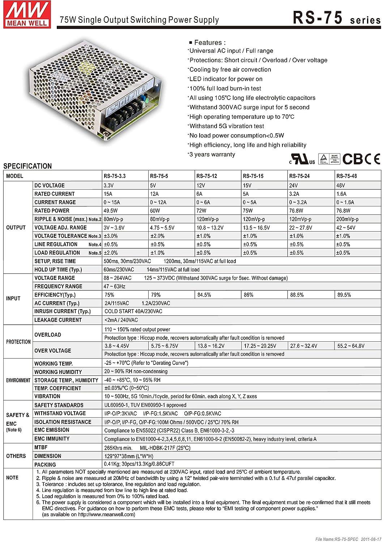 72W LED oder Halogen vom Händler geprüft Netzteil Mean Well RS-75-12 12V=//6A