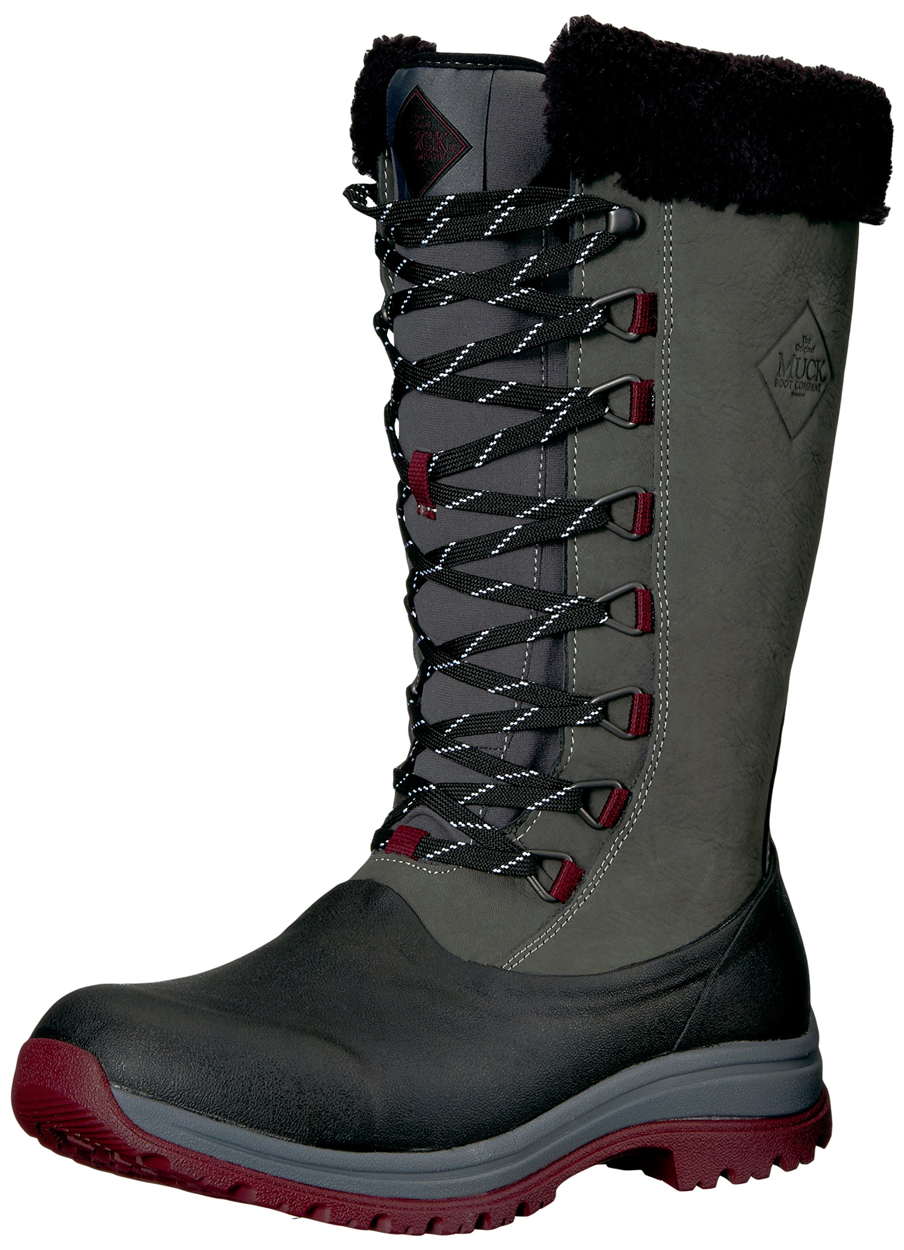 Muck Boot Women's Apres Lace Tall (13'') Work Boot, Otter/Dark Navy, 9 M US