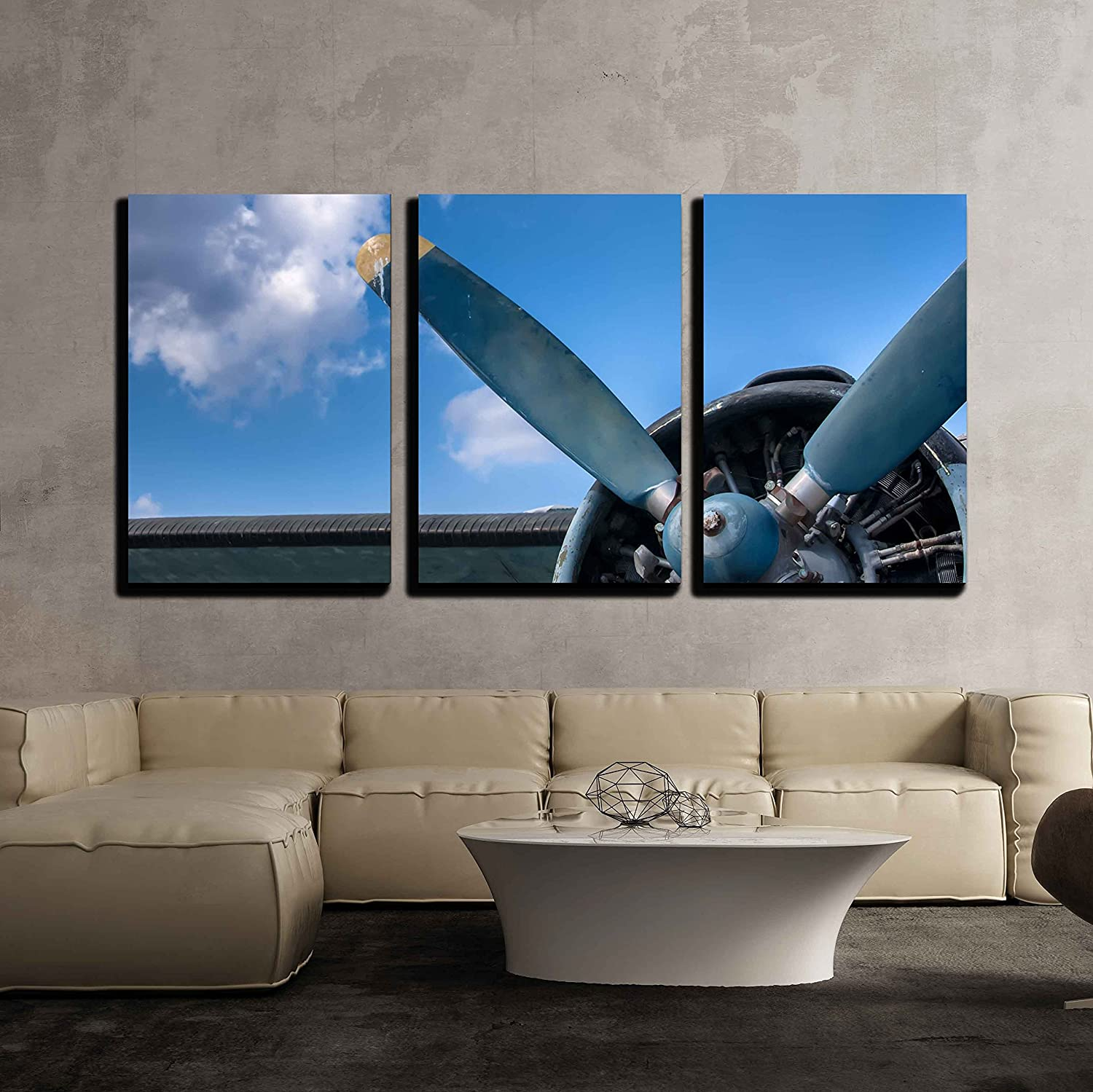 Wall26 art prints framed art canvas prints greeting wall26 3 piece canvas wall art propeller and engine of vintage airplane modern home decor stretched and framed ready to hang 16x24x3 panels amipublicfo Choice Image