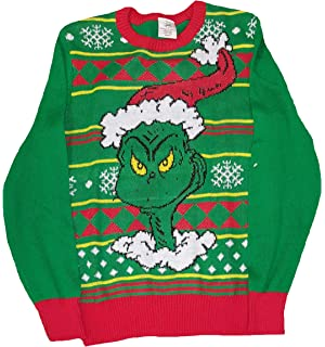 Amazoncom Dr Seuss Mens Grinch Face Ugly Christmas Sweater