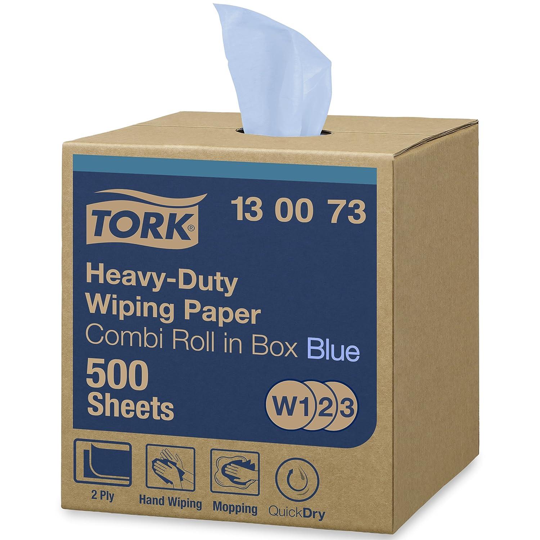 Tork 130073 Carta ultraresistente per asciugatura QuickDryPremium, compatibile con i sistemi W1, W2 e W3, 2 veli, 1 conf. x 1 rotolo (1 x 170 m), colore blu