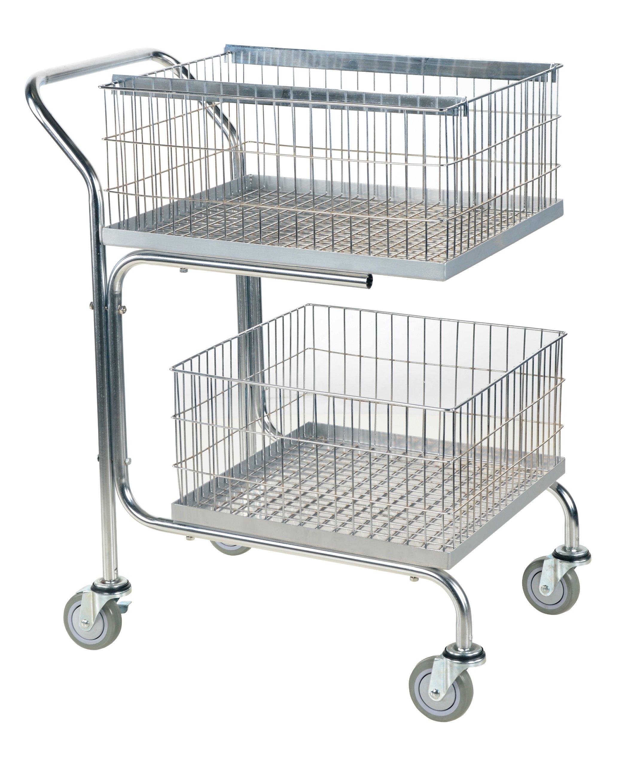 Vestil MAIL-55 Steel 2 Trays Cart, 200-lb. Load Capacity, 39'' x 18'' x 31''