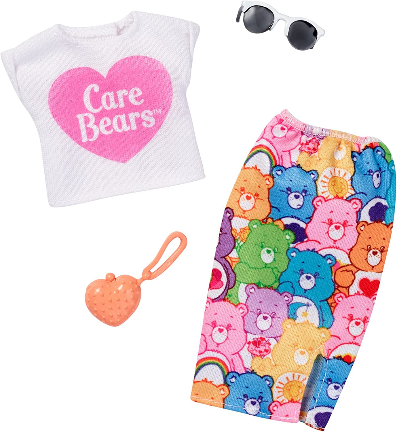 2018 BARBIE CARE BEARS FASHION PACK ~ DRESS PURSE /& NECKLACE NEW