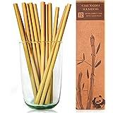 12 pailles à boire en bambou réutilisables - pailles de 20 cm de long par Chengdu Bamboo biodégradables et idéales pour l'environnement! Chaque ensemble est livré avec une boîte élégante et contient une brosse de nettoyage. Don de bienfaisance pour chaque achat.