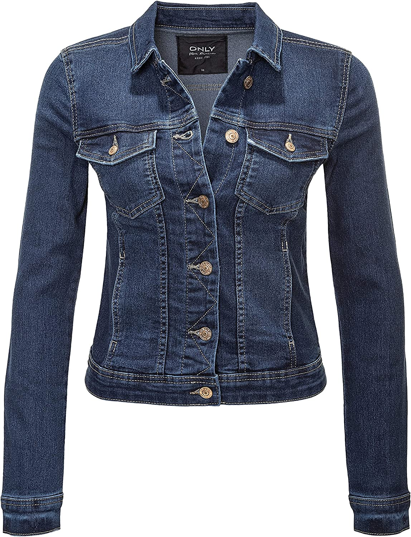 Only Damen Jeansjacke Übergangsjacke Denim Used Look Casual Damenjacke Jacke
