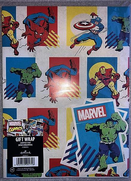 Papier cadeau officiel Marvel Avengers – 2 feuilles et 2