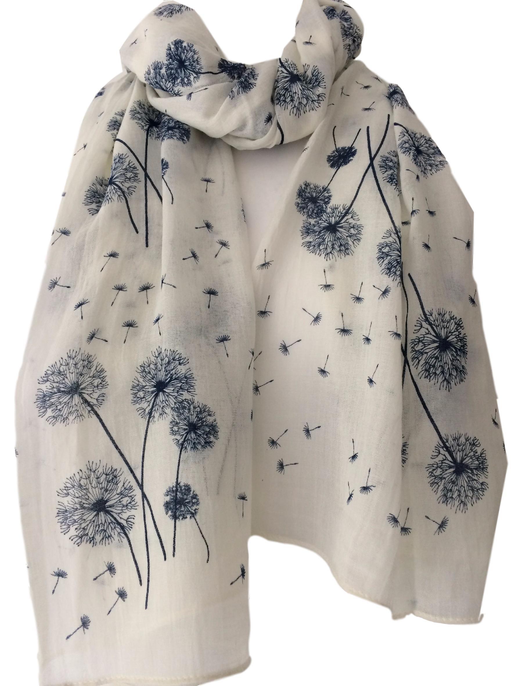 Purple possum® Cream Floral Scarf Ladies Ivory Navy Blue Flowers Wrap Dandelion Flower Shawl