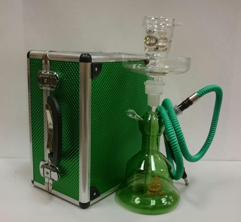 Al fakher Glass Hookah with Metal Case Green