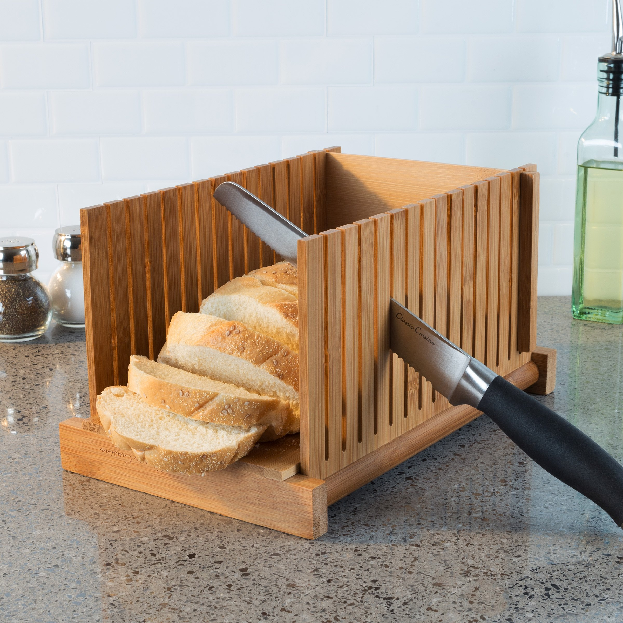 Classic Cuisine 82-KIT1064 Bamboo Bread Slicer Foldable, Adjustable Knife Guide and Board for Cutting Loaves Evenly-Perfect Food Prep Tool for Home Bakers