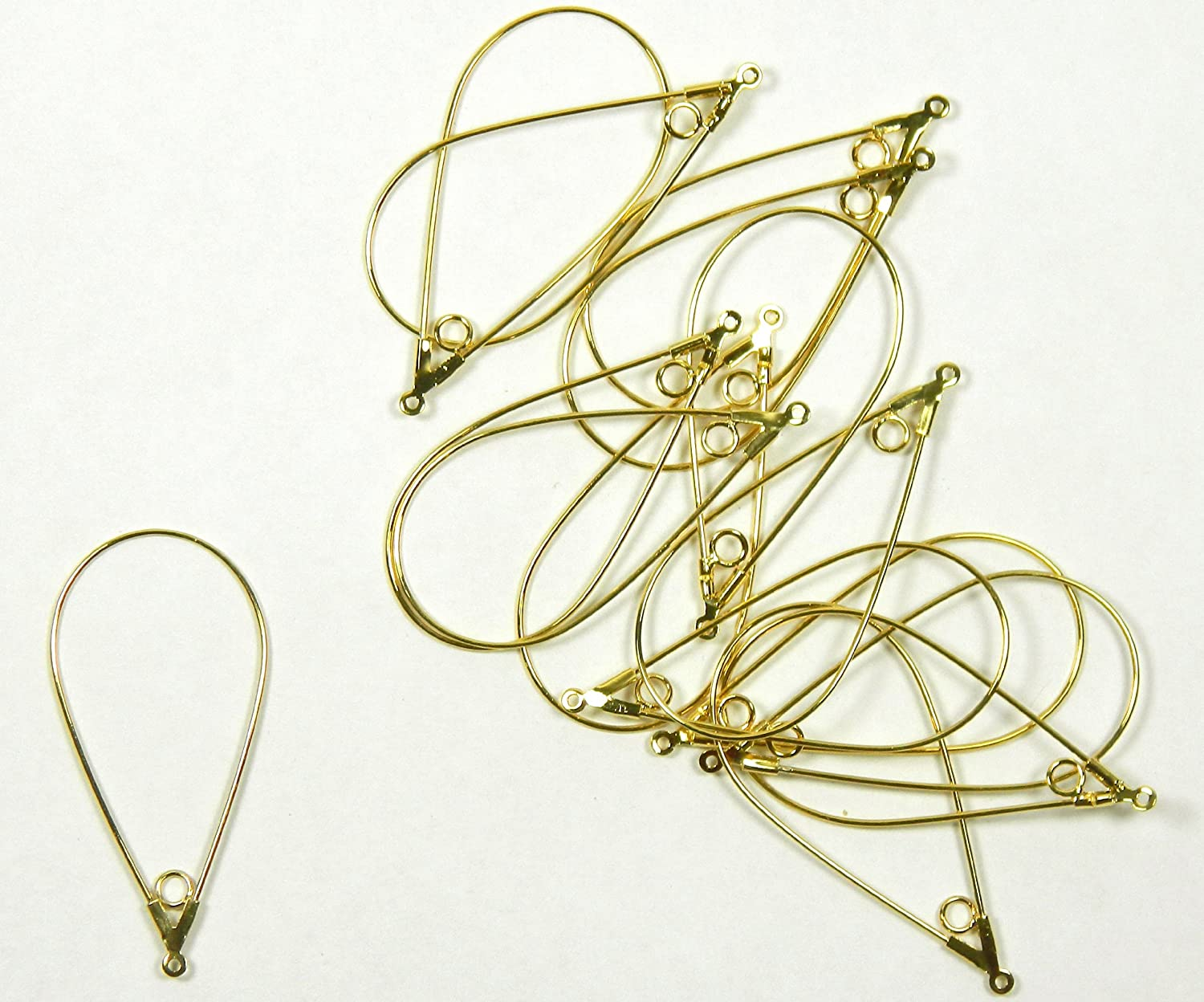 48 Gold-plated Brass, 40x22mm Smooth Teardrop with Loop Add a Bead Hoops, for Earrings 21 Gauge Wire. 24 Pair Hong kong earwires ZA08059