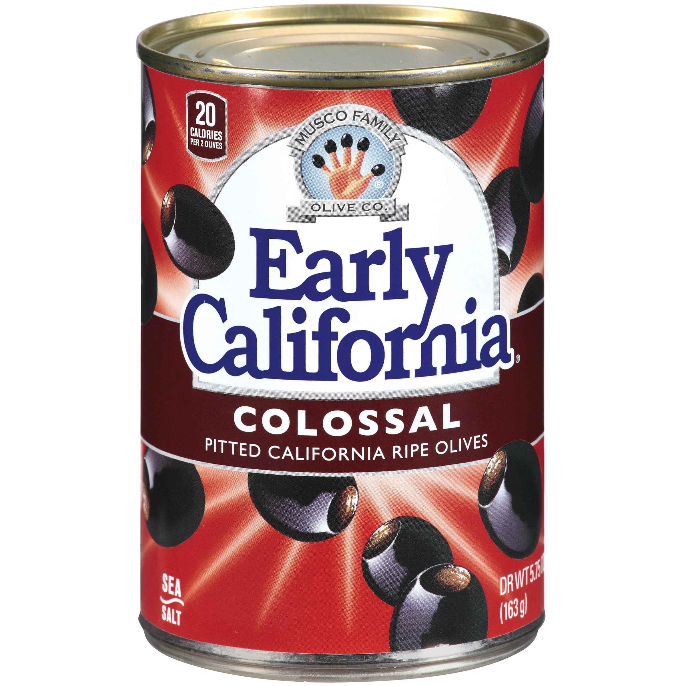Early California Ripe Pitted Colossal Black Olives, 26 Pound