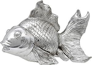 Maturi Silver Gold Fish Decorative Ornament Gift Figurine - 25.5 cm / 10-Inch in Width in Silver