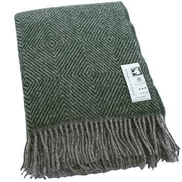 61f0d30c440b Silkeborg  XXL plaid à chevron vert foncé et gris chaud, 100% laine vierge