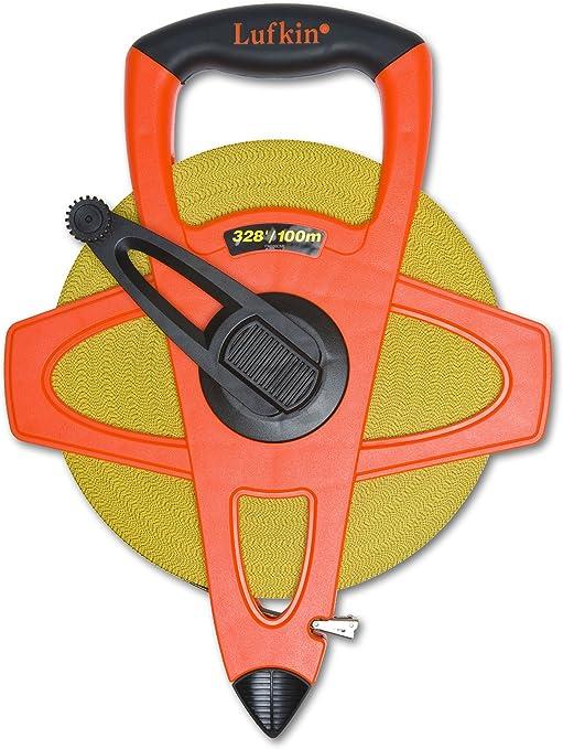 Lufkin FM100CME 2-Sided Metric//English 13mm 1//2-Inch x 100m 328-Foot Hi-Viz Orange Fiberglass Cooper Tools