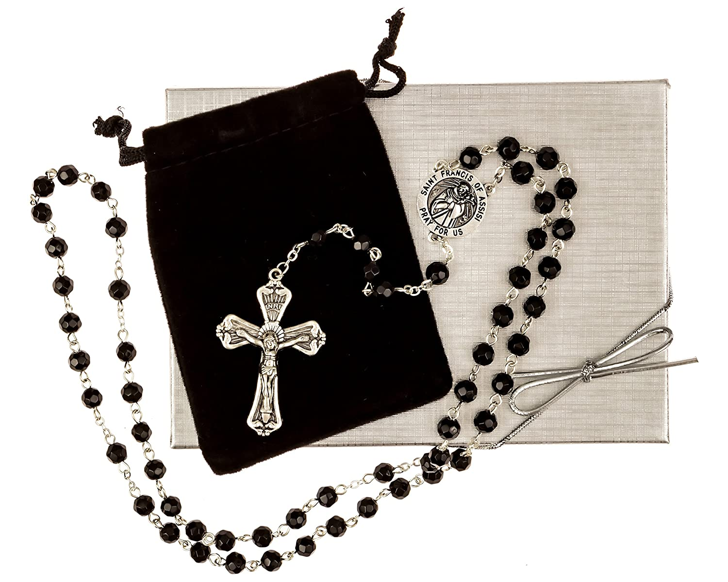 Amazon St Francis Of Assisi Rosary Beads Includes A Velvet Bag
