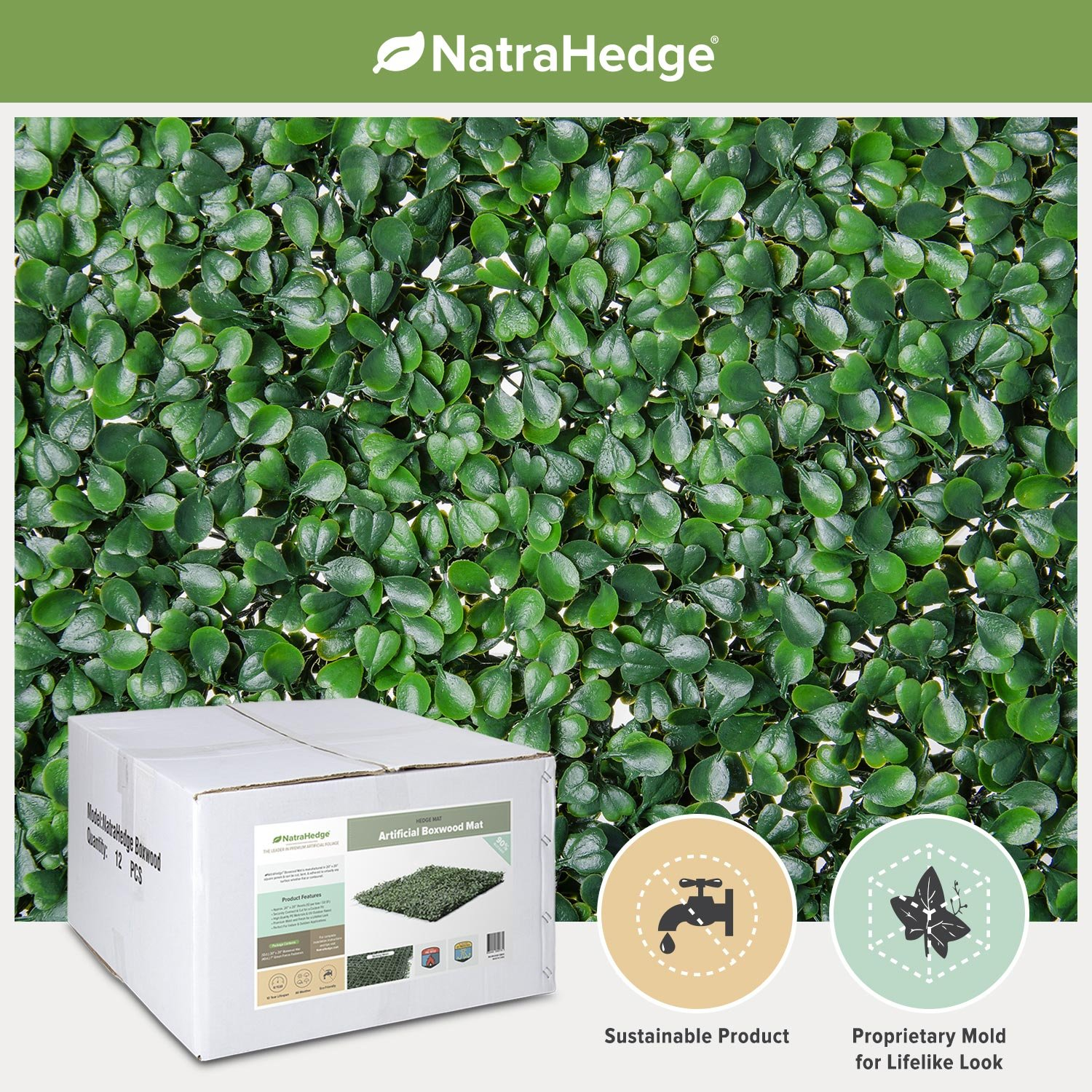 NatraHedge Artificial Boxwood Hedge Mat 20''x 20'' Panels (12 Pack)