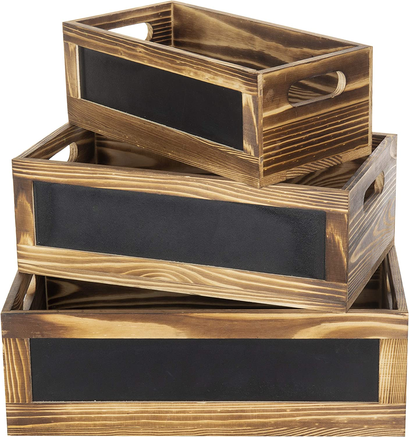 Offex Home Decorative Large American Flag Wood Storage Crates with Jute Handles