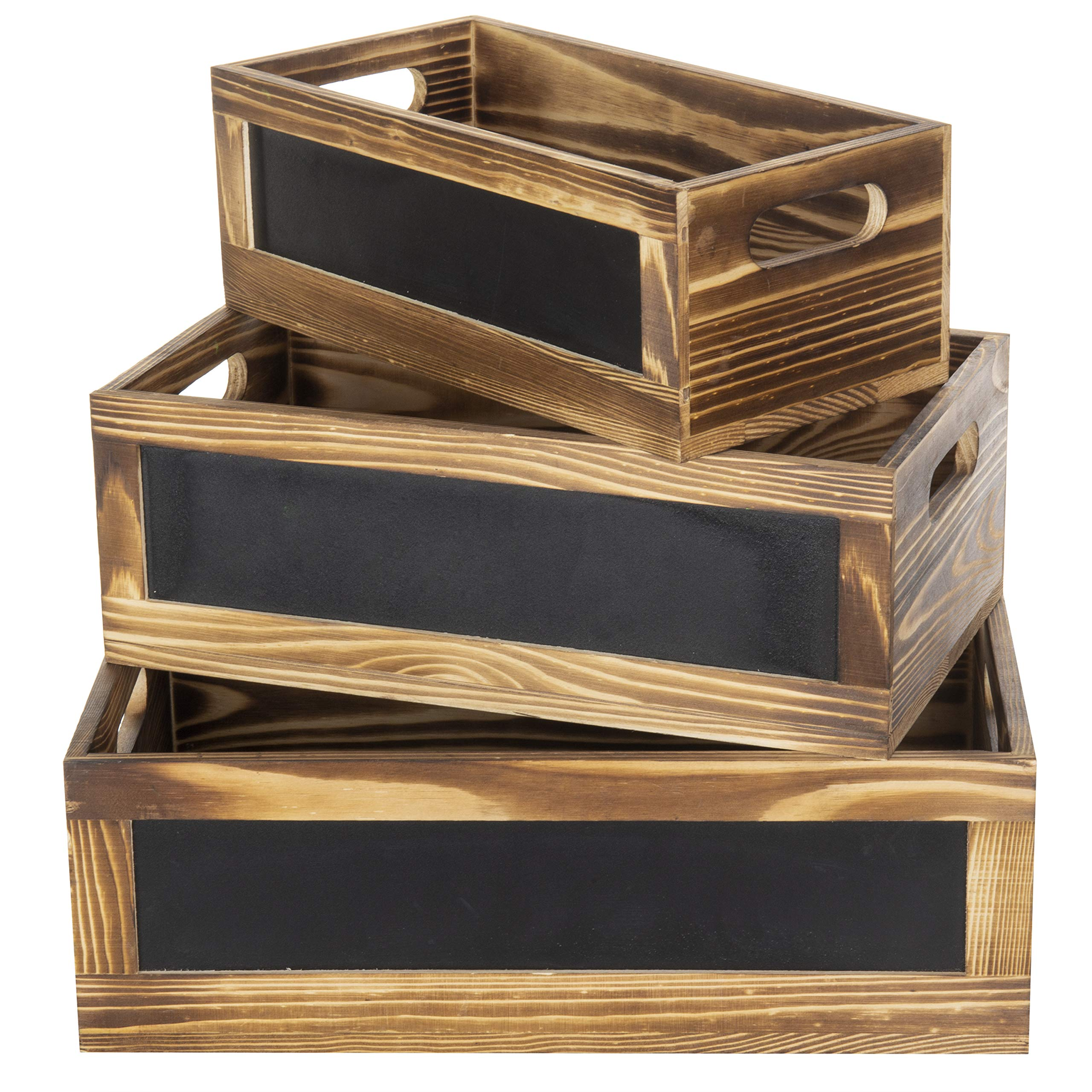MyGift Rustic Burnt Wood Nesting Storage Crates with Chalkboard Front Panels, Set of 3 by MyGift