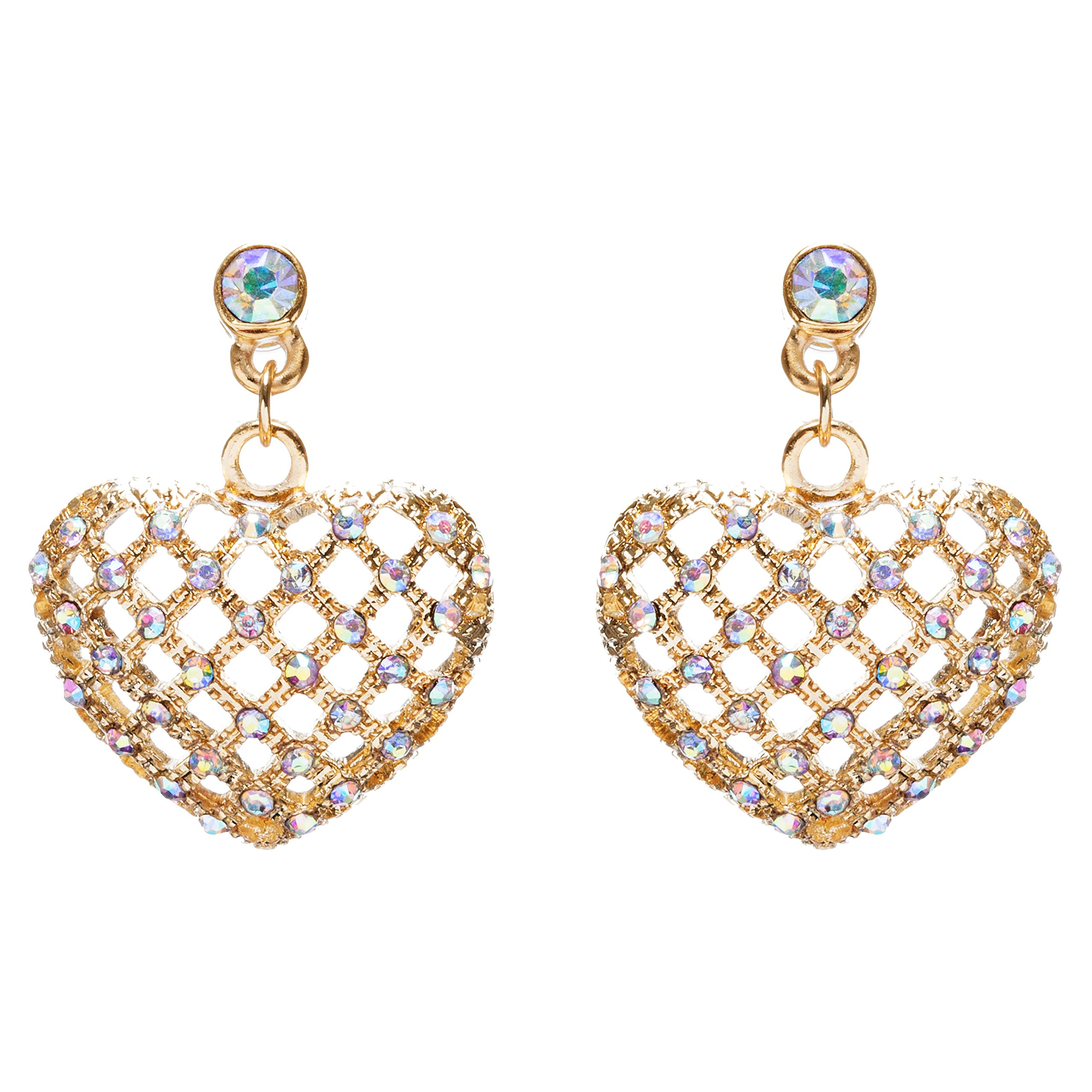 ACCESSORIESFOREVER Women Valentine's Day Jewelry Crystal Rhinestone Charming Heart Dangle Earrings E933GD