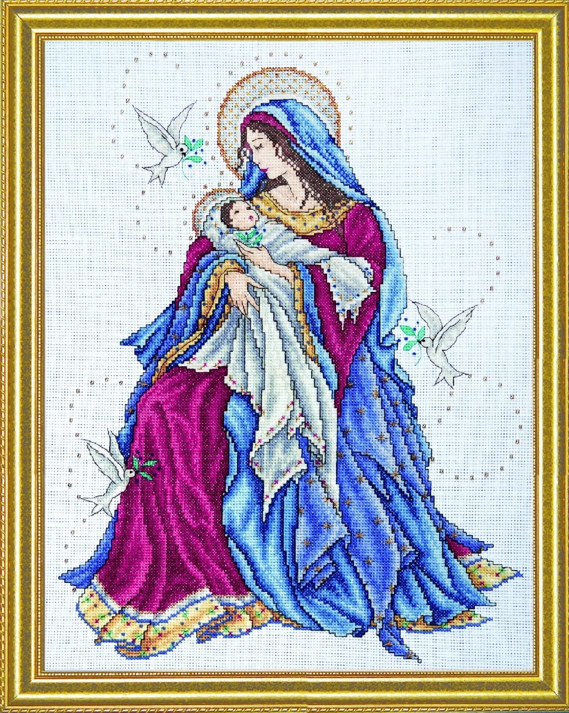 12 by 15 inches Madonna and Child Counted Cross Stitch