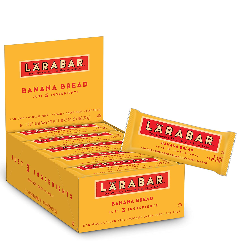 Larabar Gluten Free Bar, Banana Bread, 1.6 Ounce (Pack of 16) Bars, Whole Food Gluten Free Bars, Dairy Free Snacks