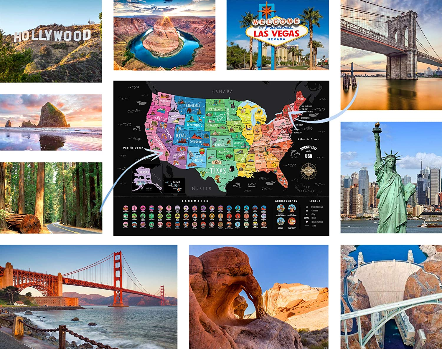 National Parks Famous Travel Locations Scratch Off USA Map 50+ US Landmarks Scratch Off Map of The United States Complete Scratcher Accessories Kit Travel Gift Tube Scratchable Achievements