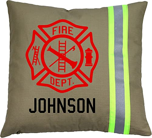Personalized Firefighter Maltese Cross Throw Pillow Tan Yellow Reflective