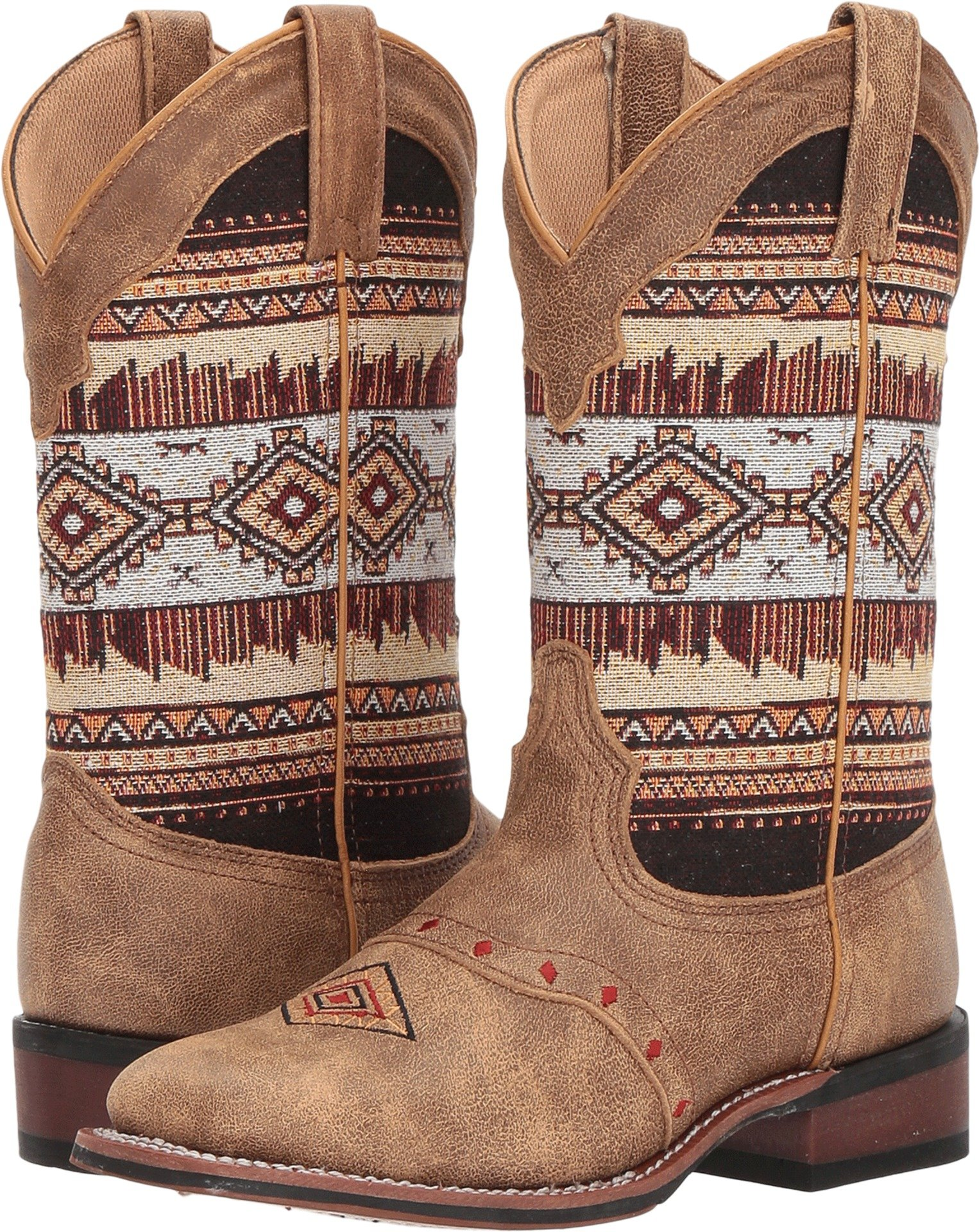 Laredo Womens Tan/Brown Cowboy Boots Leather Cowboy Boots Square Toe 8 M