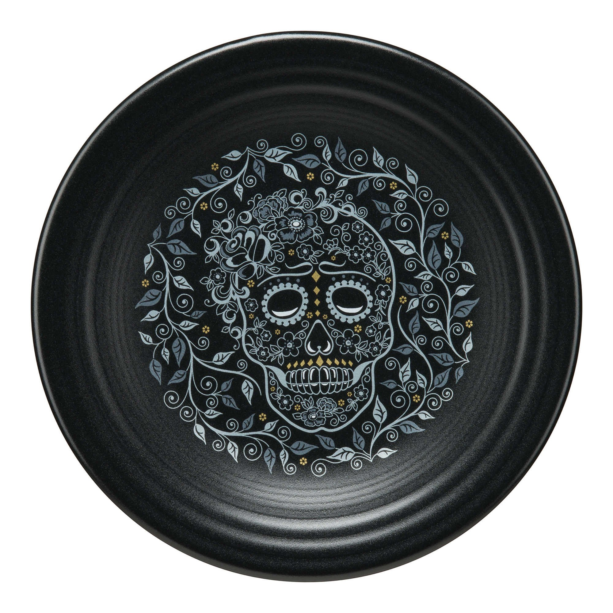 Fiesta Chip-Resistant Haunting Halloween Durable Plate Collection (Skull and Vine)