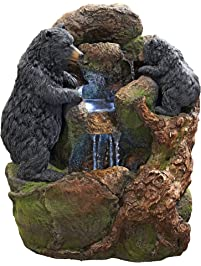 Water Fountain With LED Light   Grizzly Gulch Black Bears Garden Decor  Fountain   Outdoor Water