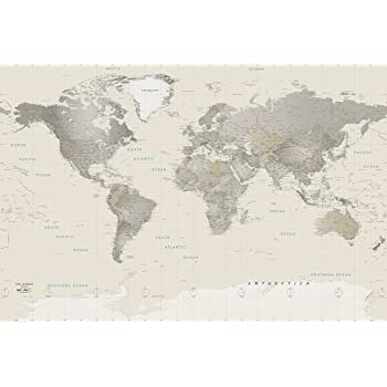 Environmental graphics giant world map wall mural dry erase academia maps world map wall mural neutral tones political map premium self adhesive fabric gumiabroncs Image collections