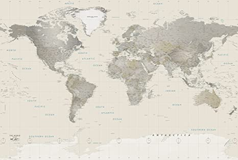 Neutral Colors World Wall Map Poster - Large 62x42 Inch - Fully Laminated  Map of The World