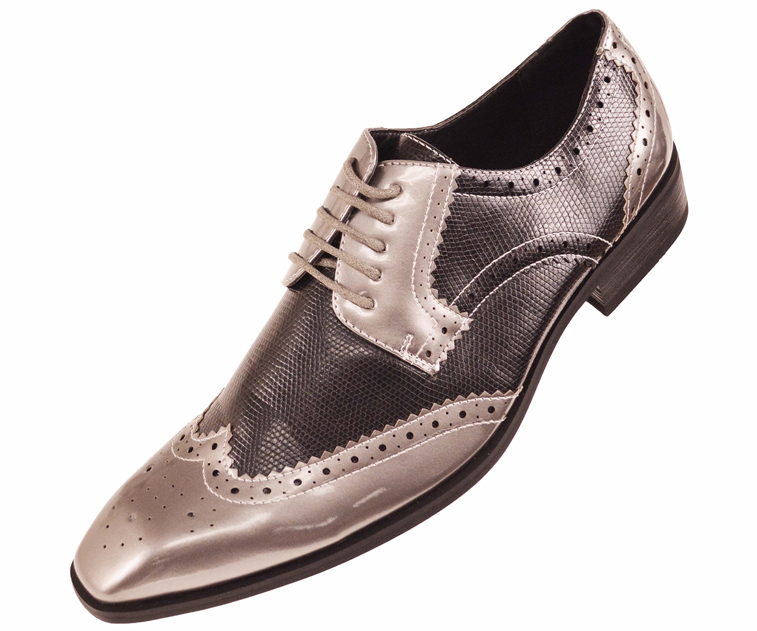 Amali Mens Two Tone Metallic Faux Lizard Skin Wingtip, Comfortable Lace-Up Oxford Tuxedo Dress Shoe