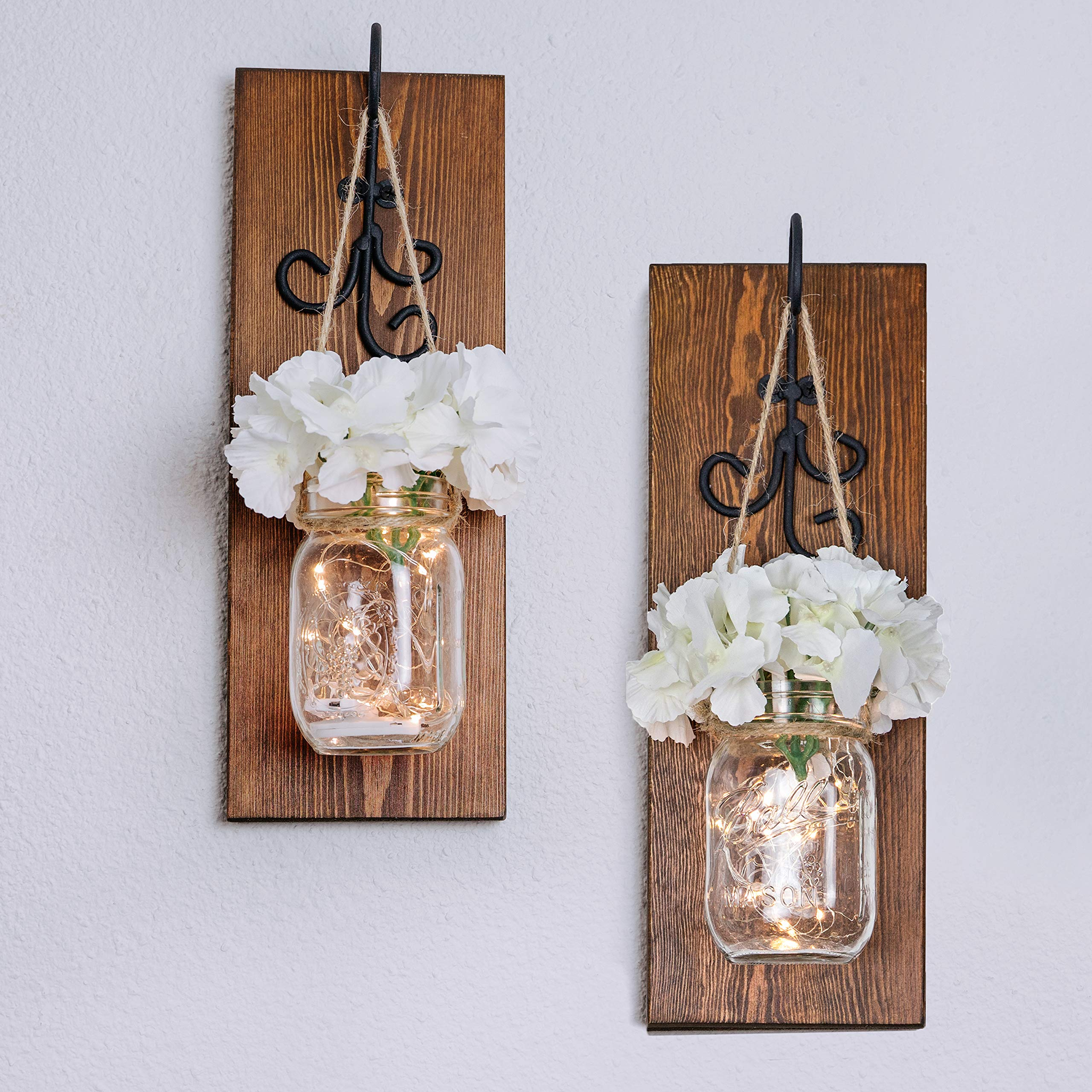 Bleecker Station Rustic Mason Jar Sconces with LED Fairy Lights, Silk Hydrangea Flowers and Decorative Hooks, Batteries Included, Mason Jar Lights, Rustic Home Decor (Set of 2) (Walnut Brown) by Bleecker Station