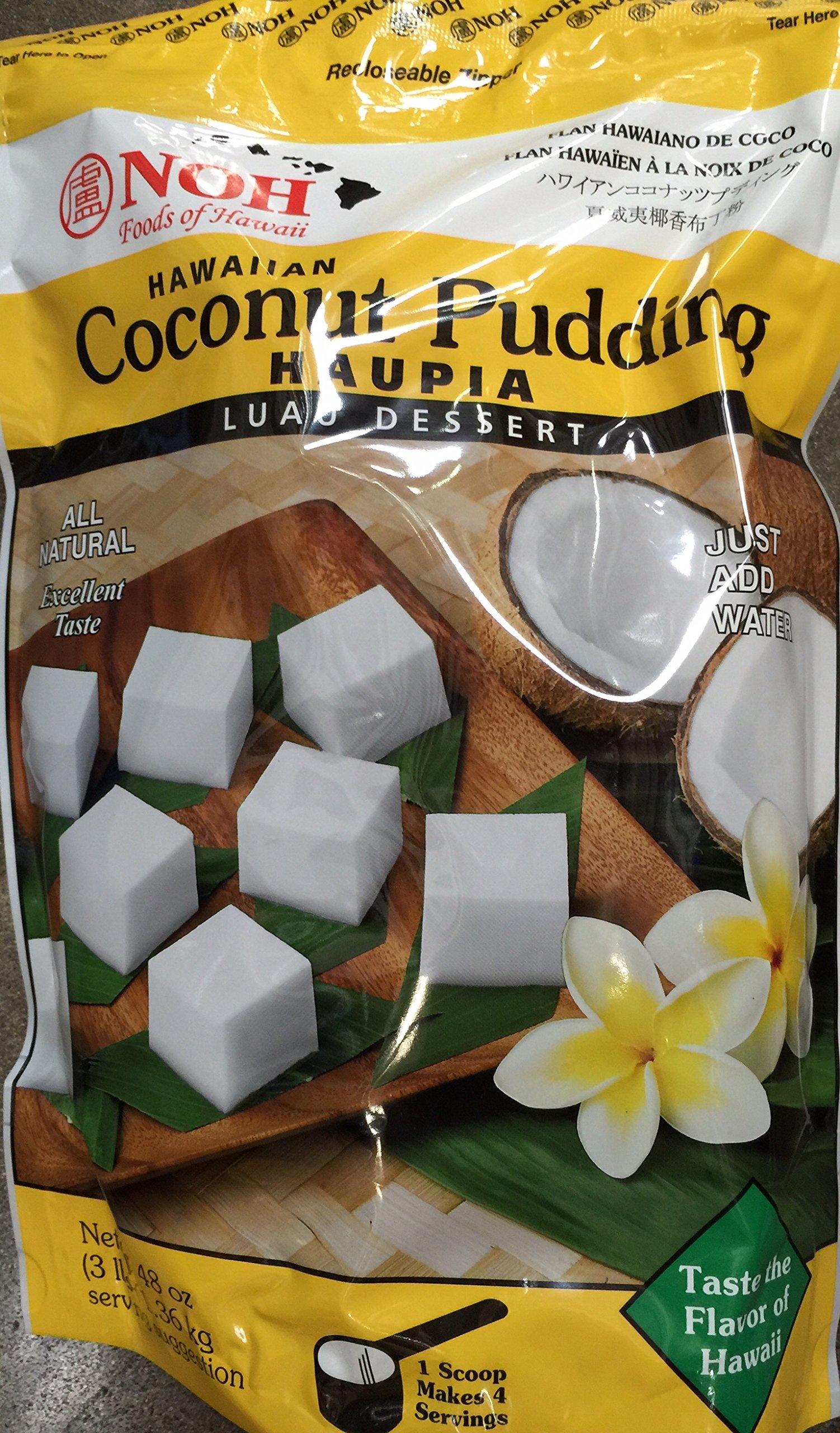 NOH Hawaiian Coconut Pudding Haupia Luau Dessert Mix Large 3 lb (48 oz-1.36 KG) pack Hawaiian Dessert by Noh Hawaii