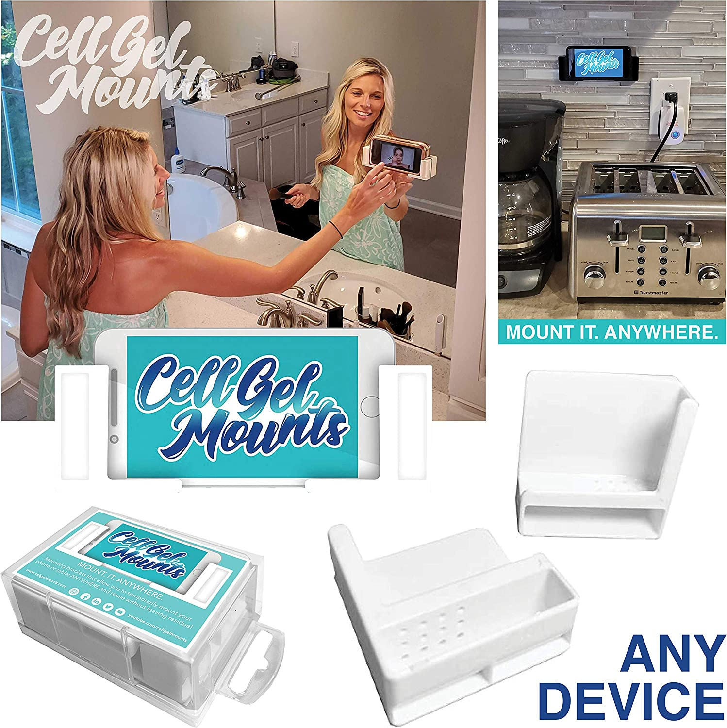 Cell Gel Mounts   Temporary Mounting Brackets for Cell Phone or Tablet   Tablet and Cell Phone Holder   No Residue   Most Surfaces   Wall, Shower, Window, Tile, Wood   for Most iPhone, iPad, Samsung