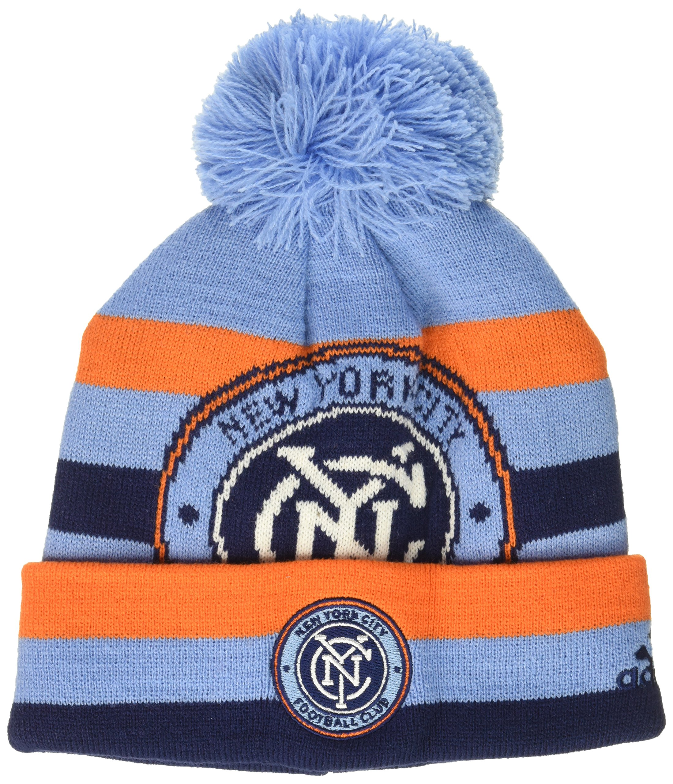 MLS NYCFC R S8FDS Youth Boys Cuffed Knit Hat with Pom, One Size (8), Bahia Blue