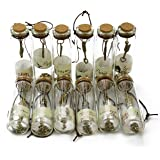 Makhry 12pcs Vintage Retro Clear Glass Wishing Bottles with Cork Stoppers and antique bronze metal PendantsInside for Birthday Gift Wedding Party Favors