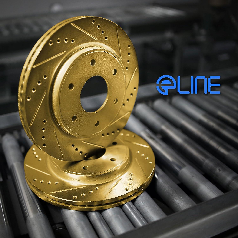 Brake Kits Rear eLine Gold Series Drilled Slotted Brake Rotors & Ceramic Pads RGC.61033.03 Replacement Parts