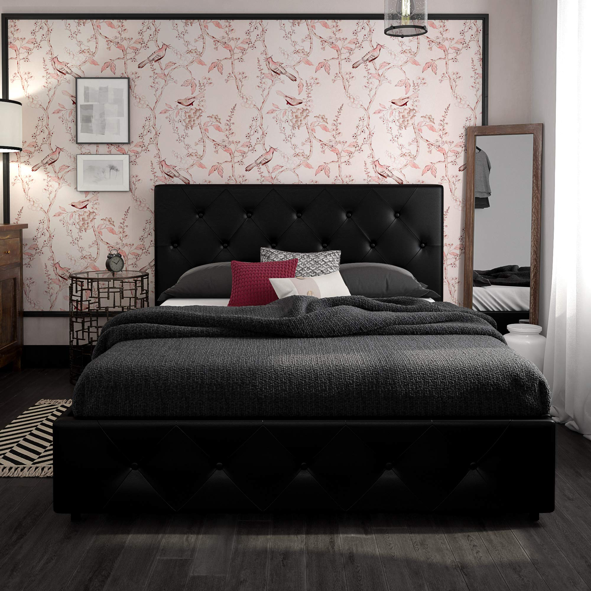 DHP Dakota Upholstered Platform Bed with Storage Drawers, Black Faux Leather, Queen by DHP (Image #7)
