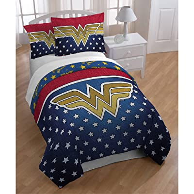 3 Piece Girls Navy Blue Wonder Woman Comforter Full Queen Set, Golden Red Color Comics Movie Characters Pattern Dc Comic Reversible Kids Bedding, Traditional Adventure Superhero Themed Teen, Polyester