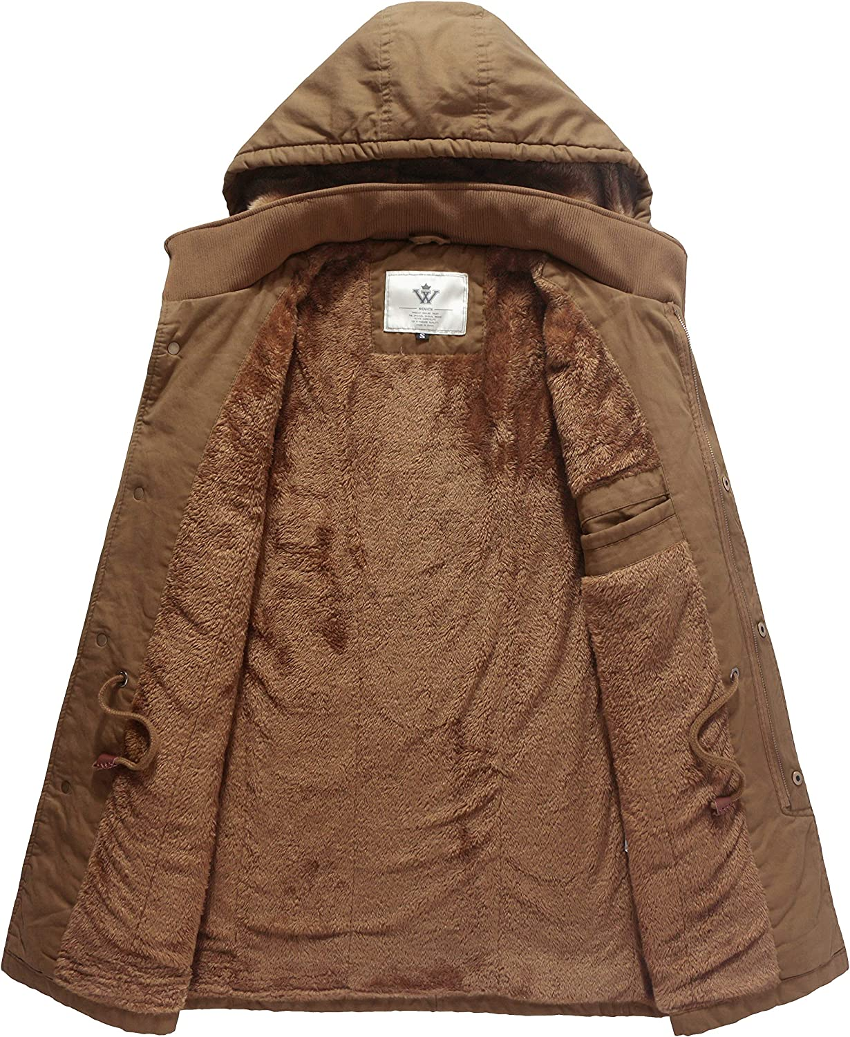 WenVen Mens Winter Military Thicken Parka Jacket with Removable Hood