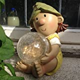 Lilly Elf Resin Garden Ornament with Solar Powered Illuminating Colour Change Ball, Fairy, Troll, garden light …
