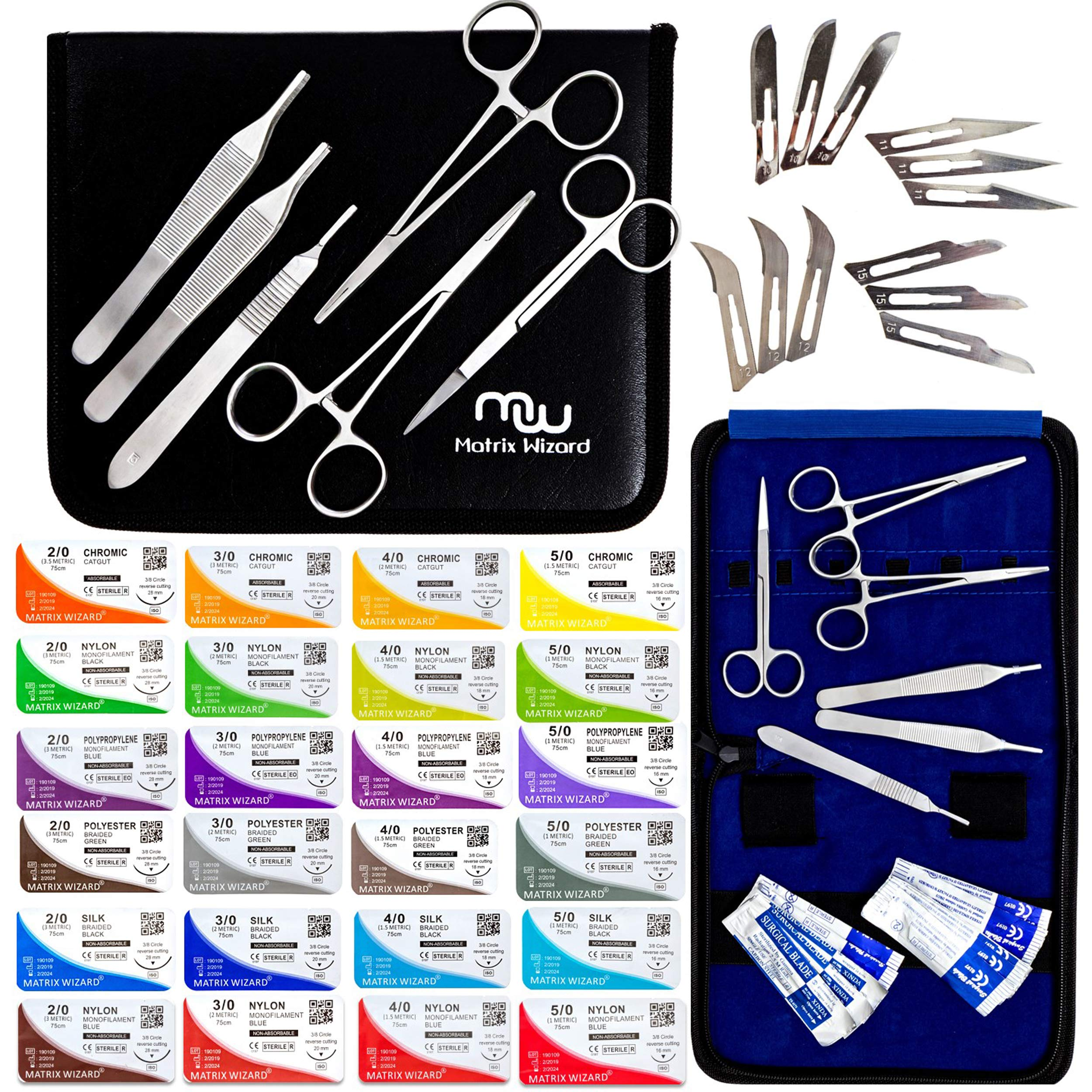 Mixed Sterile Suture Threads with Needle + Training Tools (Absorbable: Chromic Catgut; Non-Absorbable: Nylon, Silk, Polyester, Polypropylene) - Medical, Nursing, and Veterinary Students Kit (43 Pack) by Matrix Wizard