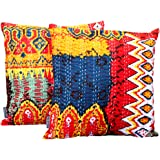 AGASVI Cotton Ikat Kantha Embroidery Cushion Cover, 16x16-inch (Red, Multicolour) - Set of 2