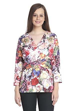 c64820ab65 INSPIRE WORLD Women s Top with Deep Neck in Polyester Rose Mix Multi Color  Print - Imported
